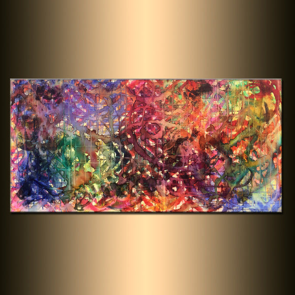 Large ORIGINAL Abstract Painting Modern Contemporary Gallery Fine Art Ready To Hang by Henry Parsinia 48x24 - New Wave Art Gallery