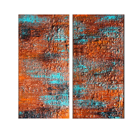 Original Textured Multipanel Abstract painting, Contemporary Modern Metallic Copper Fine Art by Henry Parsinia Large 24x24 - New Wave Art Gallery
