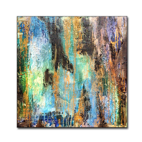 Original Textured Modern Large Abstract Metallic Thick Texture Gallery Canvas Contemporary Fine Art By Henry Parsinia 30x30 - New Wave Art Gallery