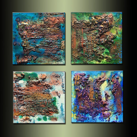 Original Textured Metallic Abstract Painting Contemporary Canvas Art by Henry Parsinia large 24x24 - New Wave Art Gallery