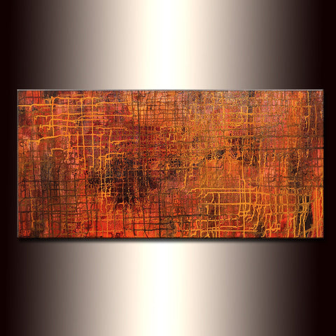 Abstract Painting ,Original Modern Metallic Abstract Painting ,Contemporary Large Fine Art by Henry Parsinia 48x24 - New Wave Art Gallery