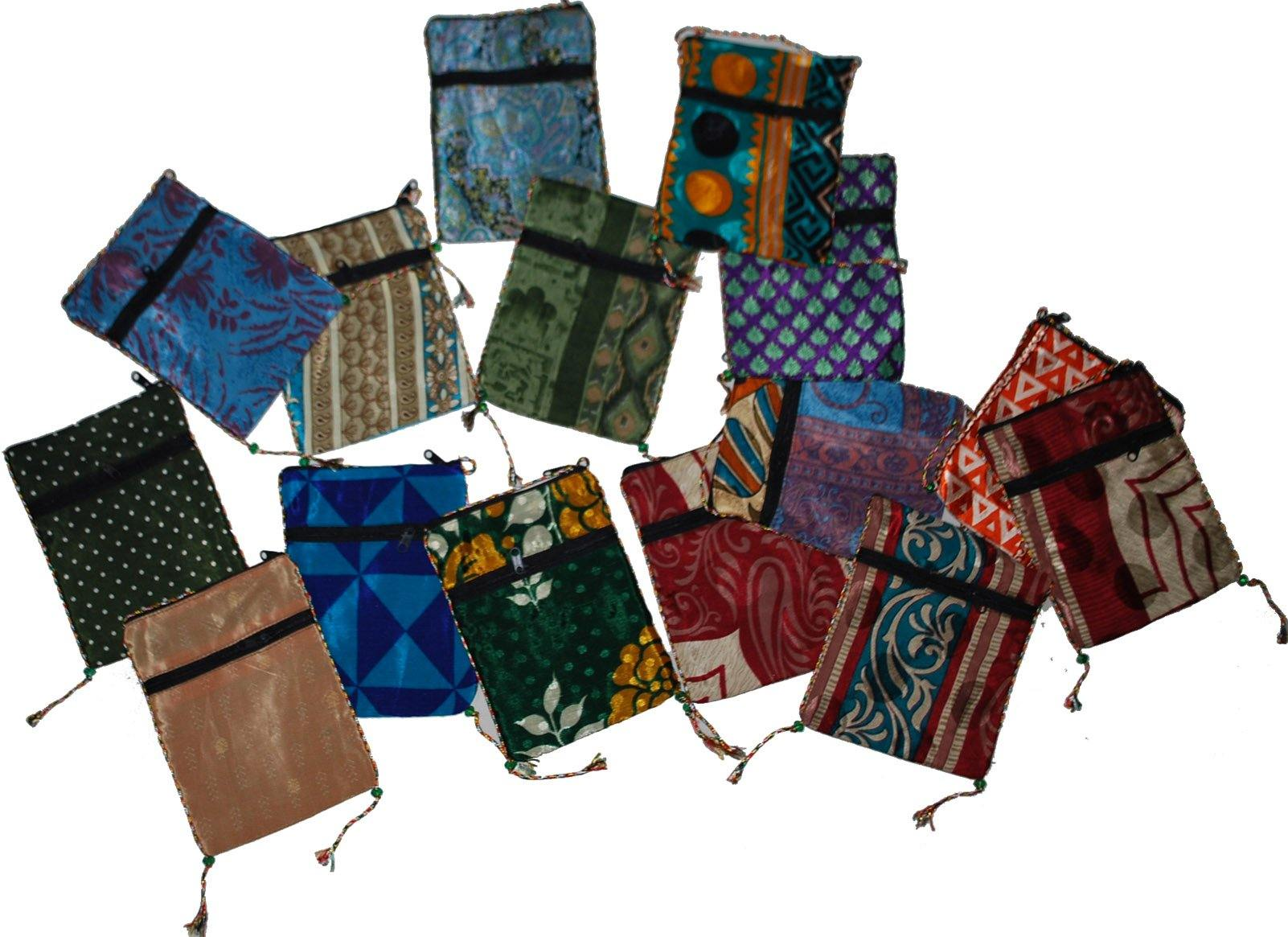 25 Pcs Lot Hand Made Small Travel Passport Purse Bag with Neck Strap