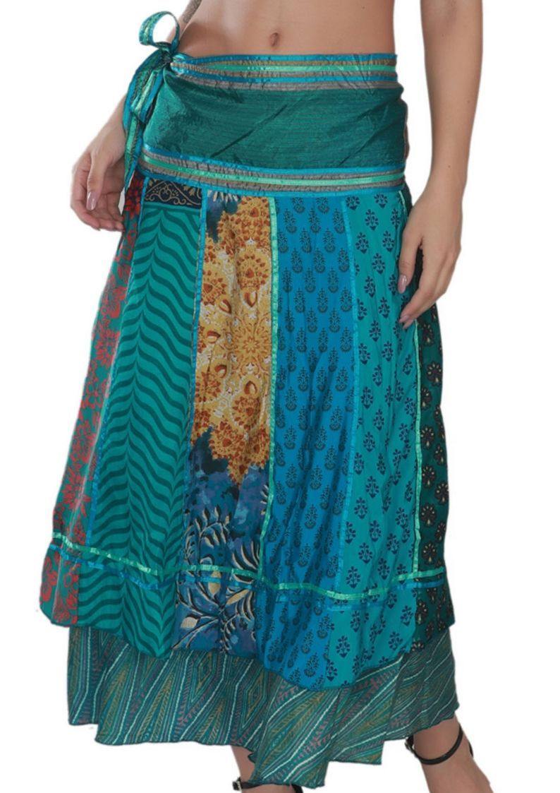 "Long 36"" Bohemian Wrap Around Art Satin Line Silk Skirts"
