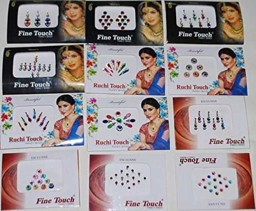 Wevez 12 Pack Indian Art Bollywood Reuseable Bindi Self Adhesive Body Stickers/tattoo
