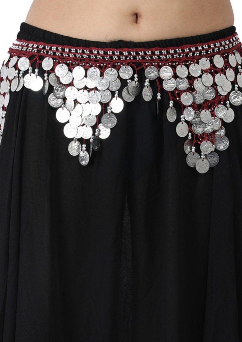 Wevez 12 Pcs Silver Coins Gorgeous Belly Dancing Heavy Carotia Hip Scarves