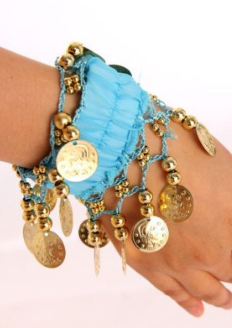 Wevez Cuff Belly Dance Hand Bracelets Bands With Gold Coins - 50 pcs