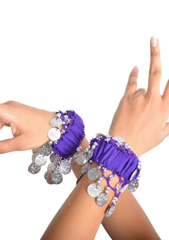 Wevez Cuff Belly Dance Hand Bracelets Bands With Silver Coins - 50 pcs