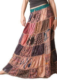 Wevez Full Length Elastic Pleated Tiered Maxi Long Patch Skirt