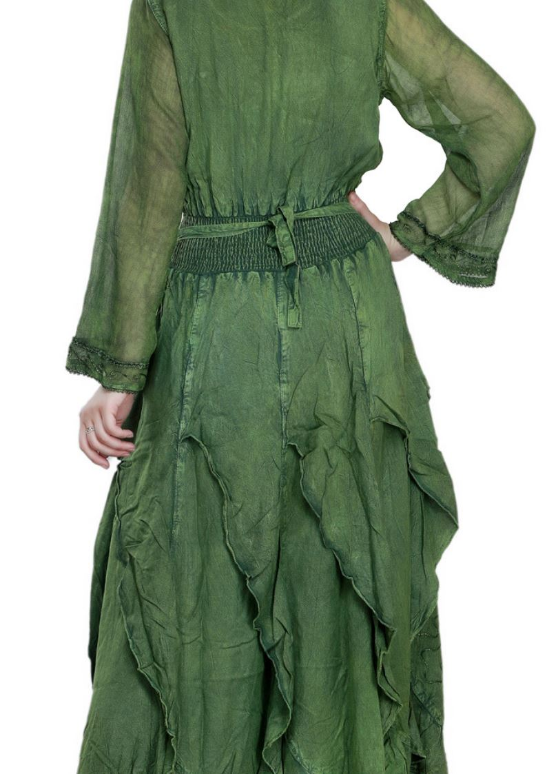 Wevez Green colored Long Sleeve embroidered Flared Maxi Dress