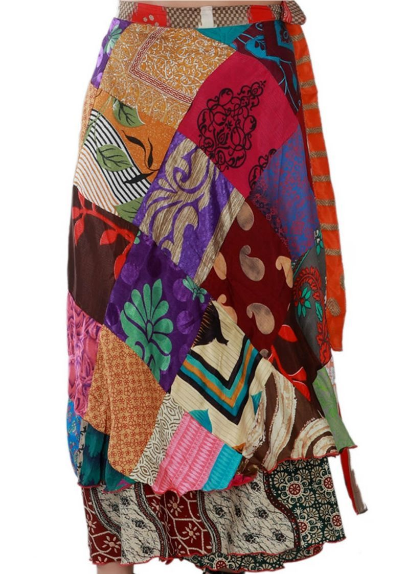 "Wevez Long 36"" Patch Sari Wrap Skirts for Women"