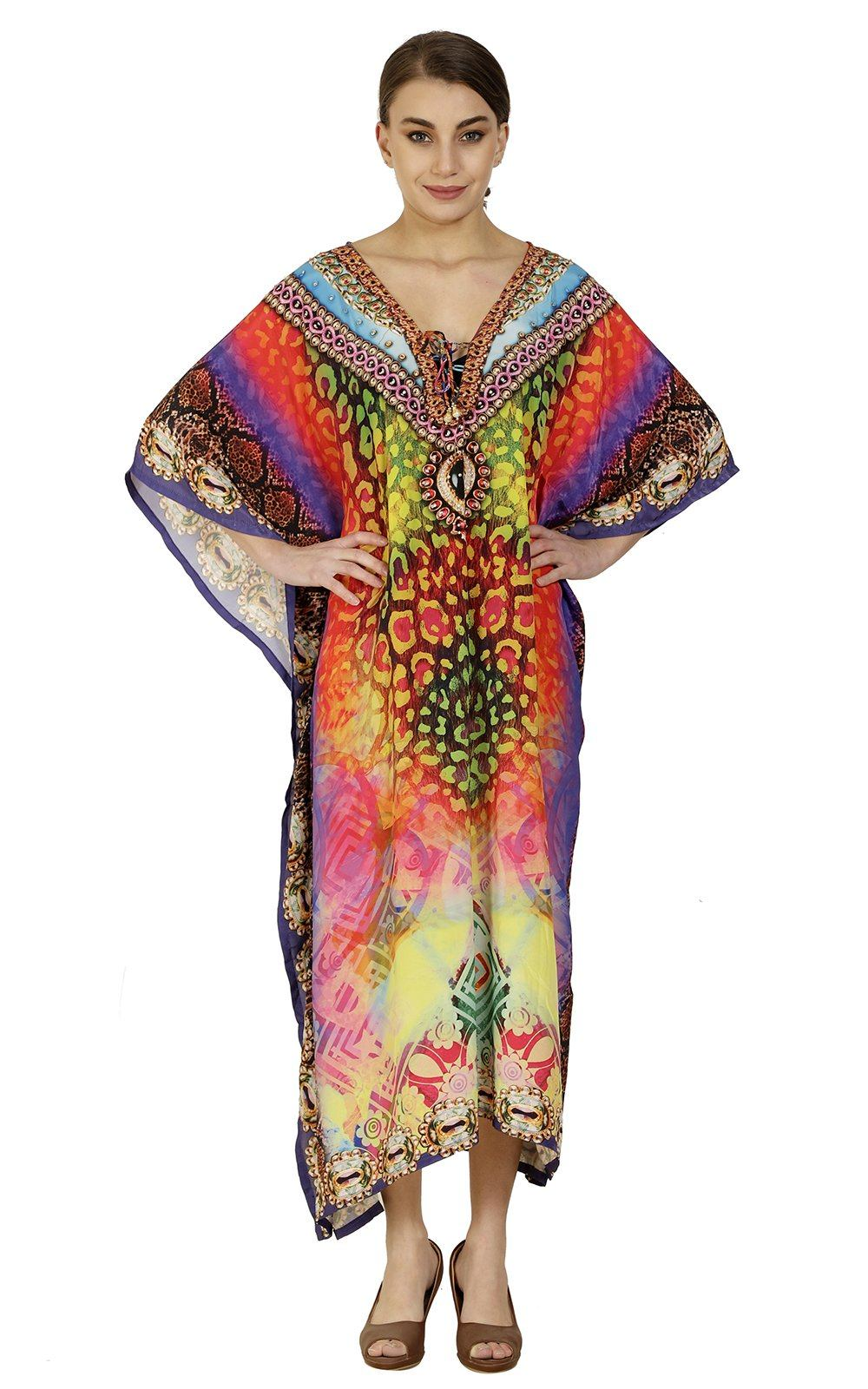 Wevez Pack of 03 Elegant Batwing Sleeve Kimono Long Dress