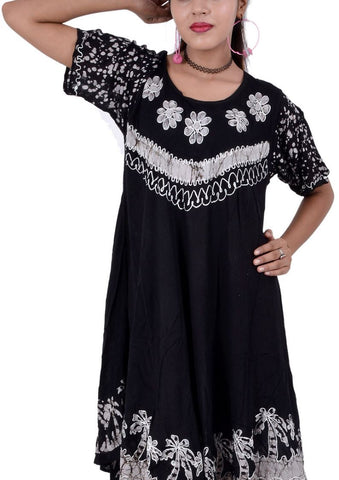 Wevez Pack of Batik Clothing Short Sleeve Caftan Dress/Cover Up