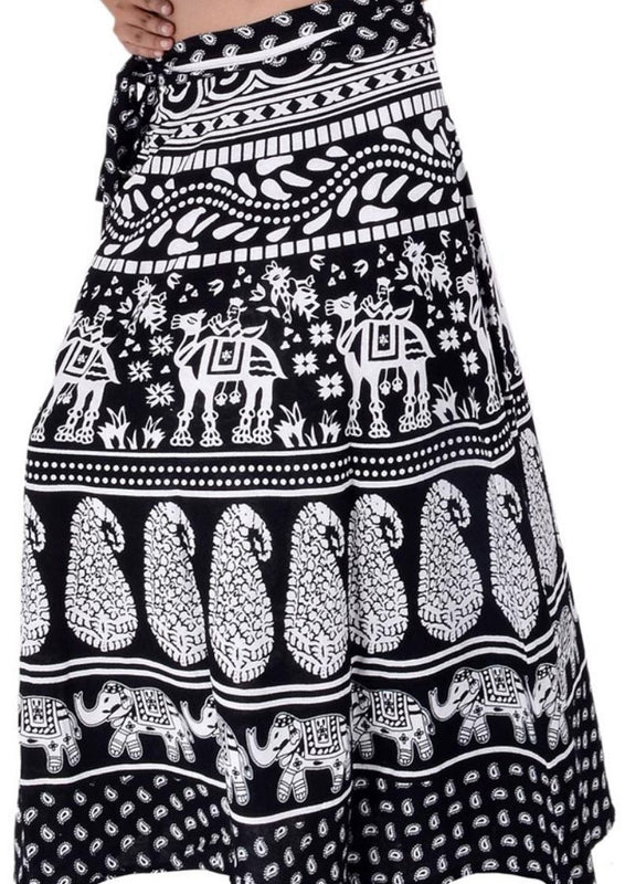 Rajasthani High Waisted Block Printed Cotton Wrap Skirts Pack