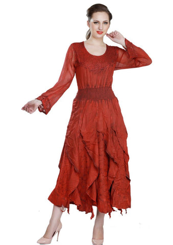 Wevez Red colored Long Sleeve plain embroidered Flared Maxi Dress