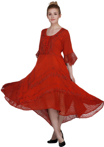 Wevez Red Empire Waist Maxi Dress with full Sleeves