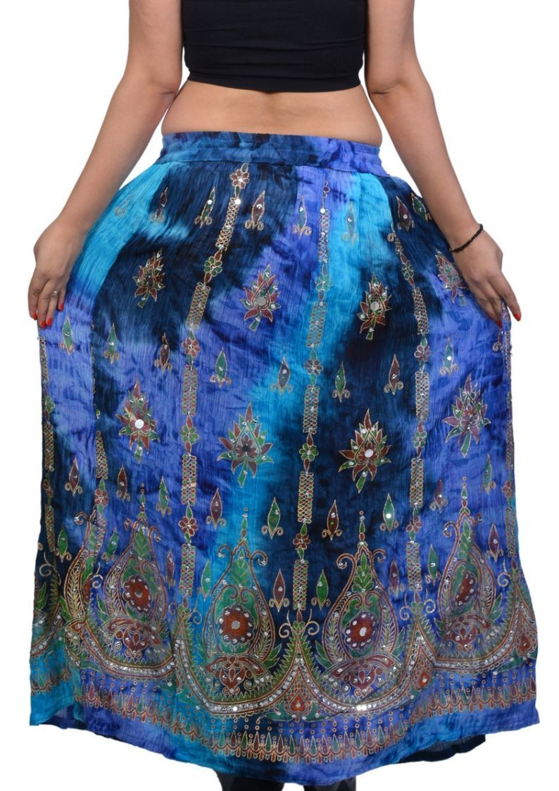 Wevez Tie Dye Sequin Long Maxi Embroidery Skirt