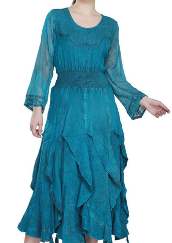 Wevez Turquoise colored full Sleeve plain embroidered Maxi Dress