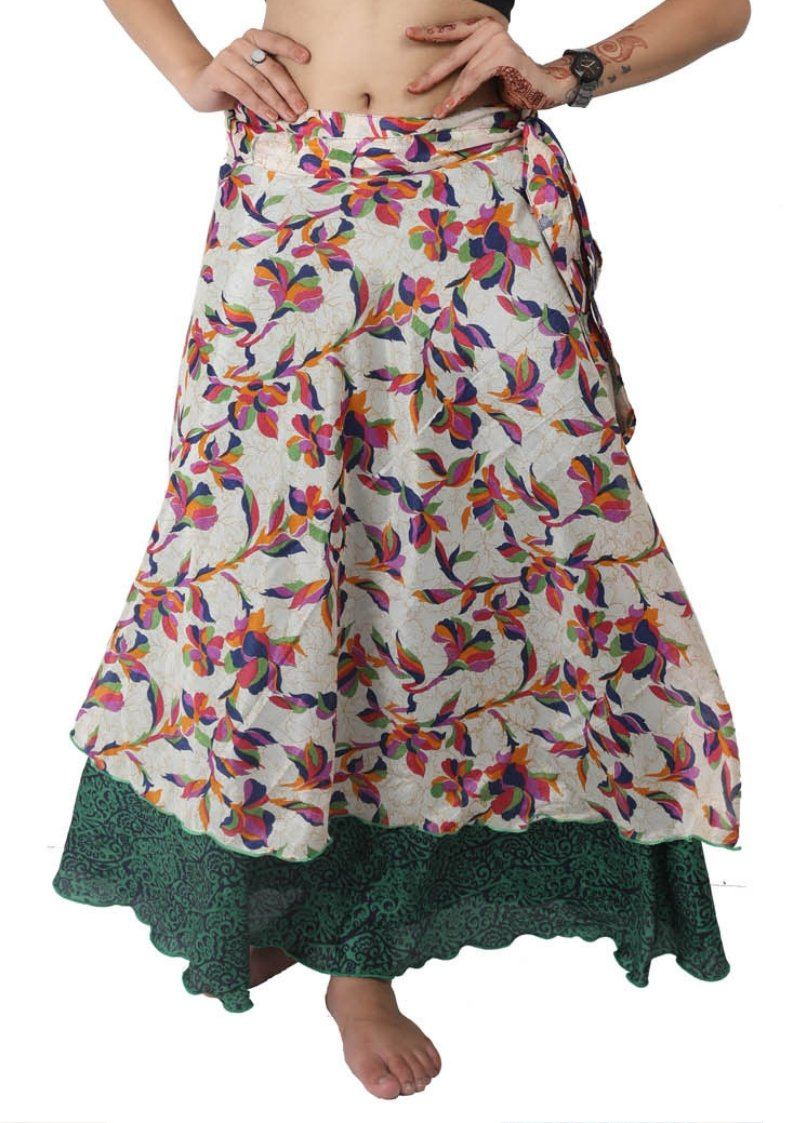 Wevez Two Layer Magic Wrap Around Skirt / Dress - Silk Sari Wrap, Assorted Color / Print-Pack Of 3