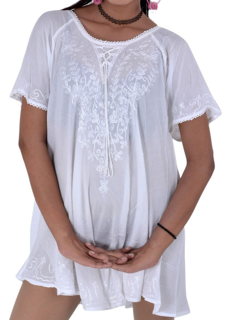 Wevez White Short Sleeve Casual Top Blouse Pack