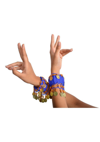 Wevez Women's Pack of 5 Belly Dance Coin Arm Bracelets, One Size, Assorted