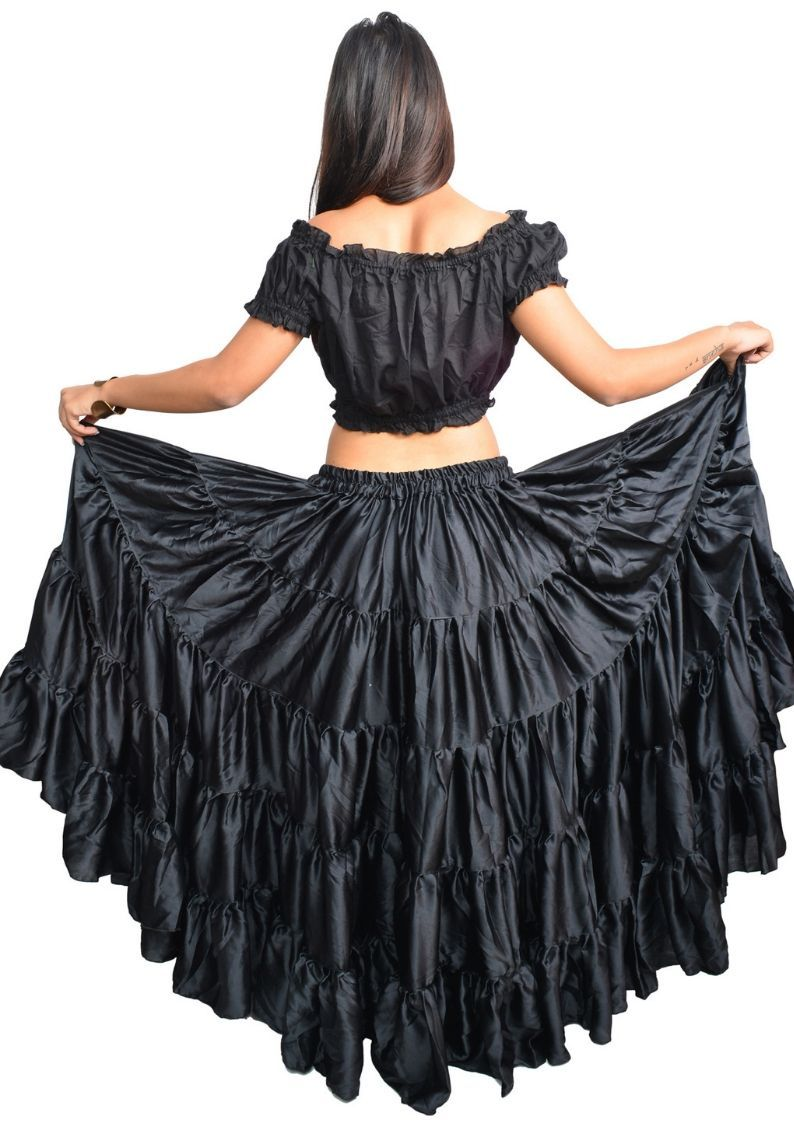 Wevez Women's Satin Flamenco Dance 25 Yard skirt, One Size
