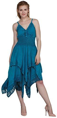 Wevez Women's Slim Strap Embroidered Dress