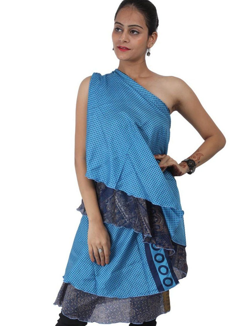 Wevez® Wholesale Lot of 10 Pcs Indian Printed Reversible Art Silk Wrap Around Skirts