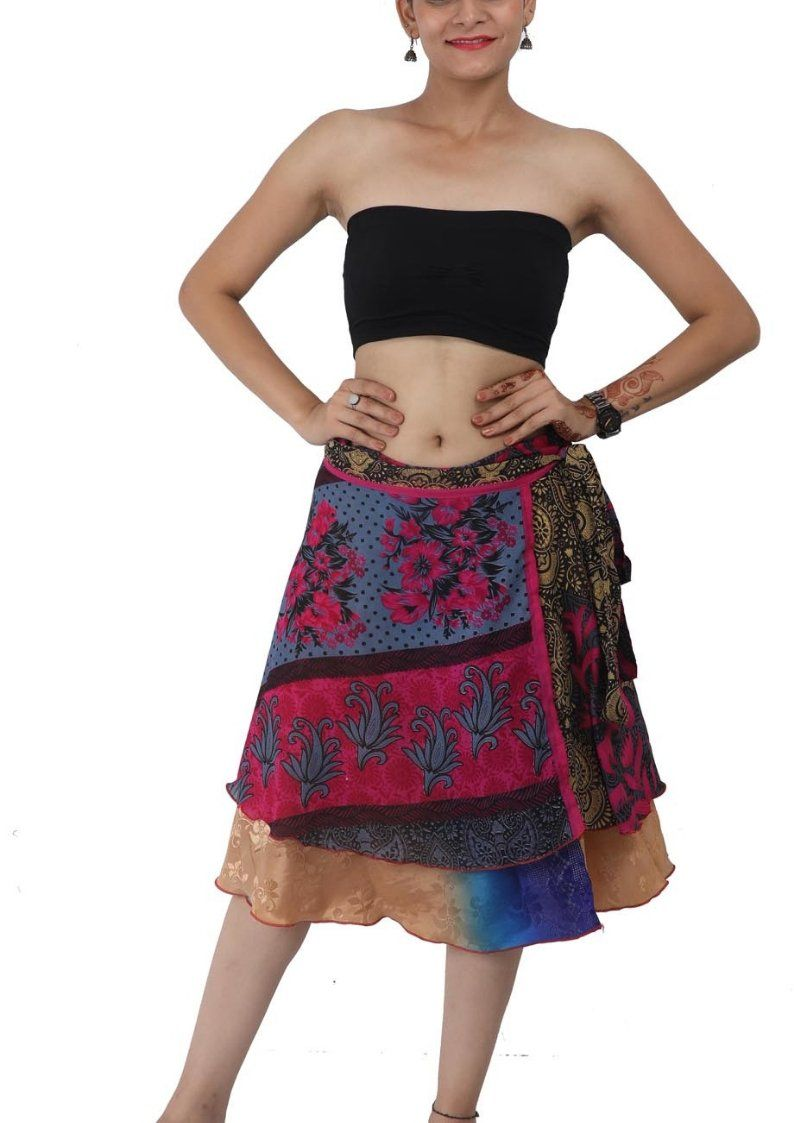 Wevez® Women's Short Silk Sari Wrap Reversible Skirt, One Size, Assorted