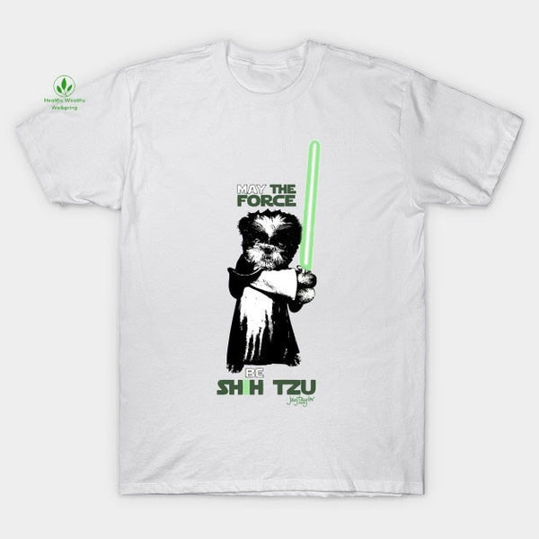 May the Force Be Shih Tzu Womens Soft Premium Quality Cotton T Shirt