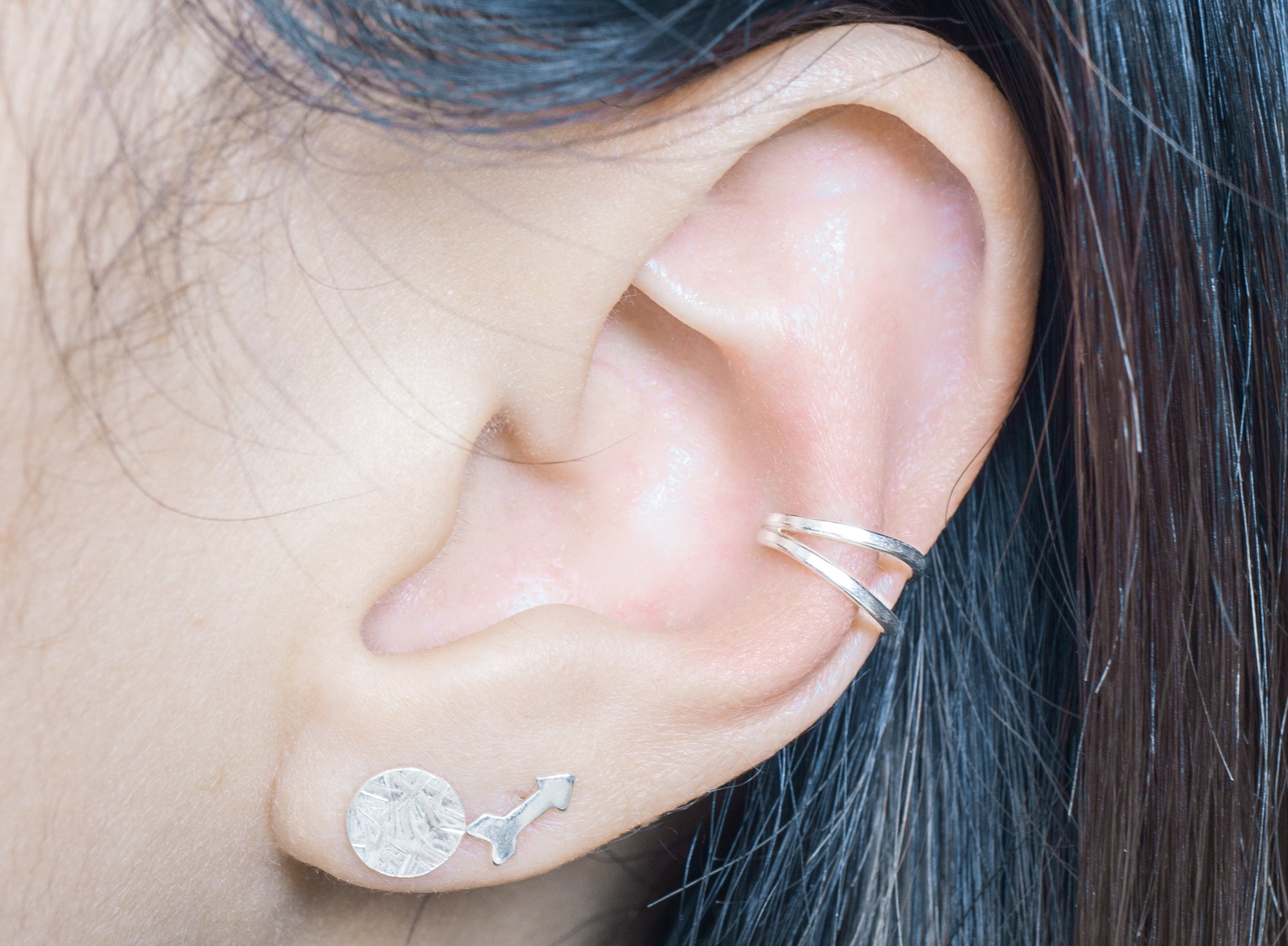 sterling silver double ring ear cuff