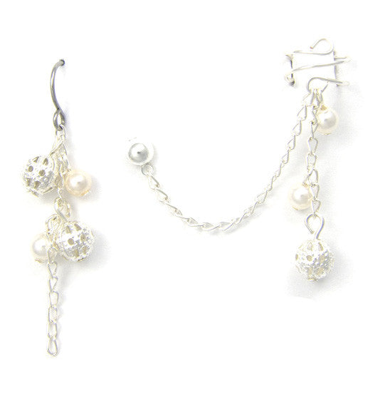Filigree w/Swarovski Pearls Cuff Earring