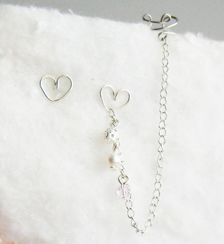 Pink Heart Long Cuff Earring