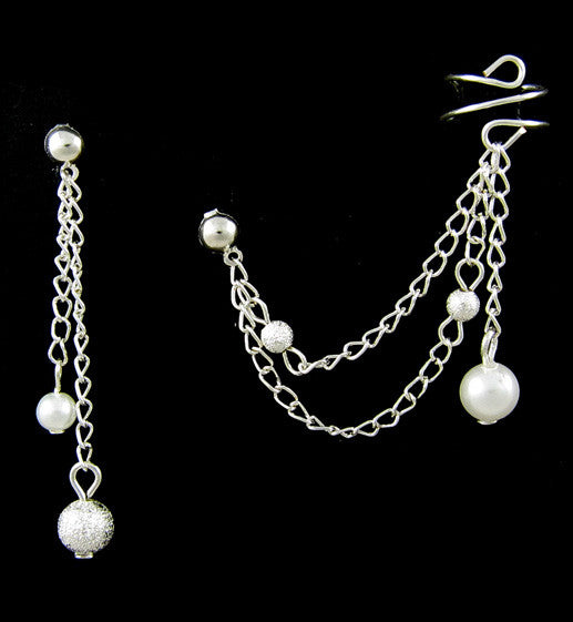 Silver Double Link Chain Cuff Earring