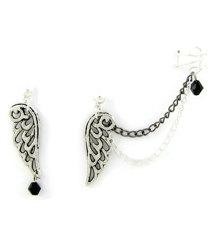 Angel Wings Double Chain Cuff Earring