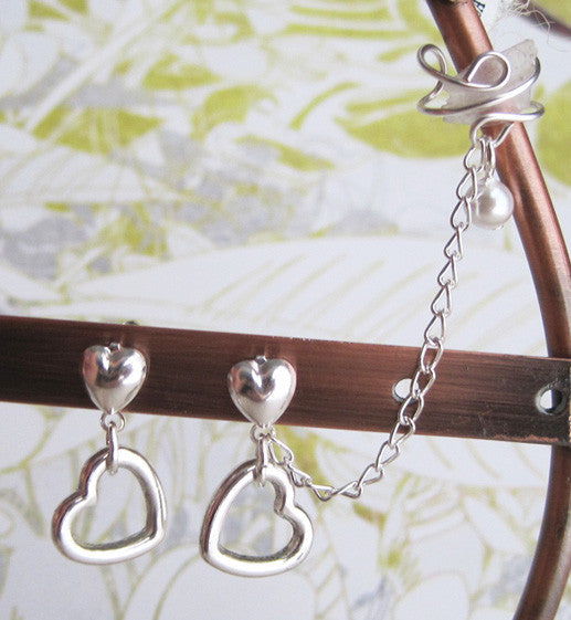 Loving Hearts Cuff Earring