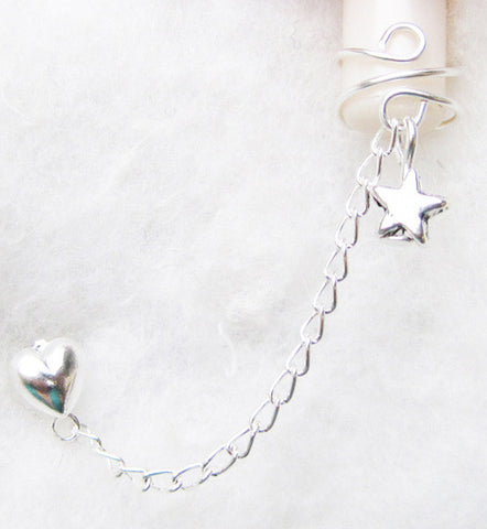 Silver Heart and Star Cuff Earring