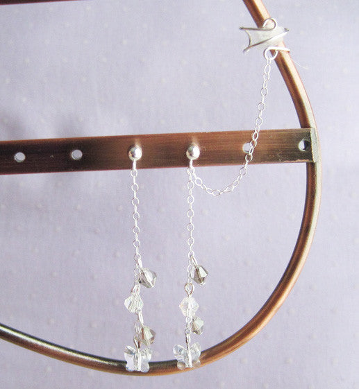 Sterling Silver Clear Butterfly Cuff Earring