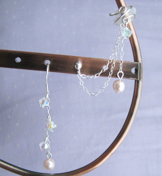 Sterling Silver Pearl Double Chain Dangle Cuff Earring