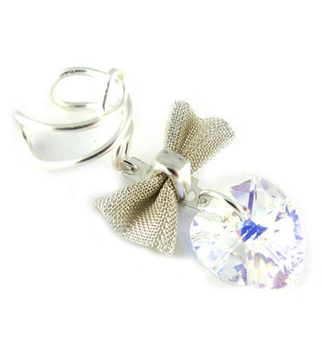 Ear Cuff w/Bow and Swarovski Heart