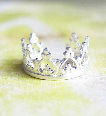 Sterling Silver Princess Crown Ear Cuff
