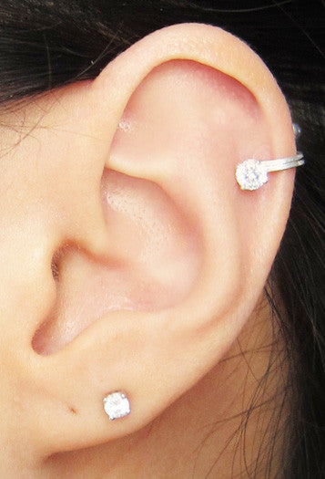 Sterling Silver 4mm Clear Cubic Zirconia Ear Cuff