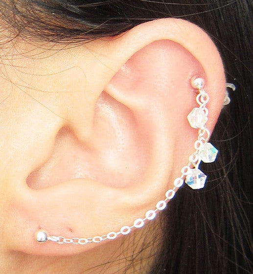 Sterling Silver Clear AB Crystals Cartilage/Double Piercing
