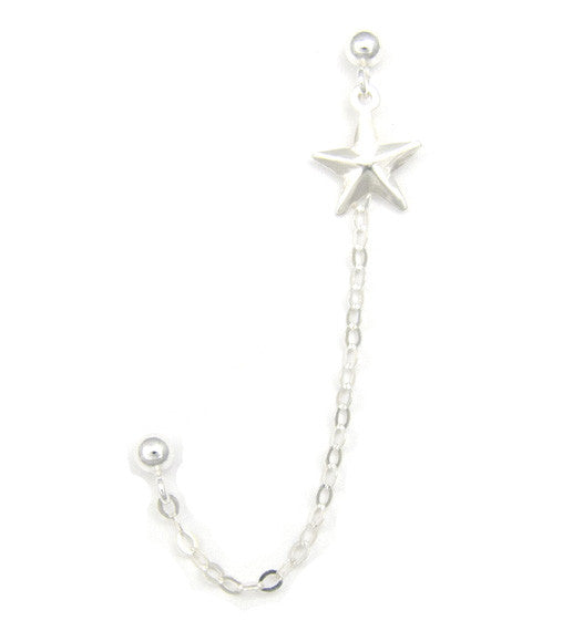 Sterling Silver Plain Star Cartilage/Double Piercing