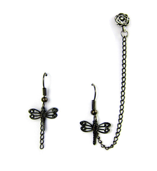 Black Dragonfly and Flower Cartilage/Double Piercing Pair