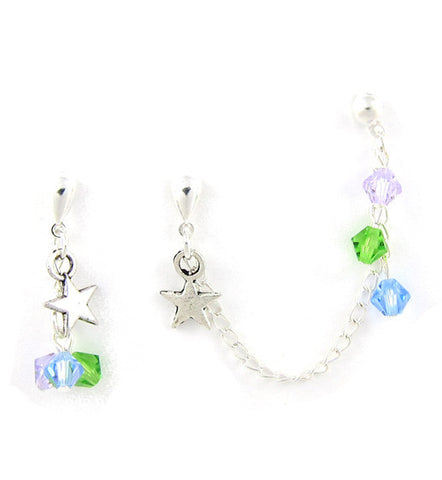 Colorful Crystals Star Cartilage/Double Piercing Pair