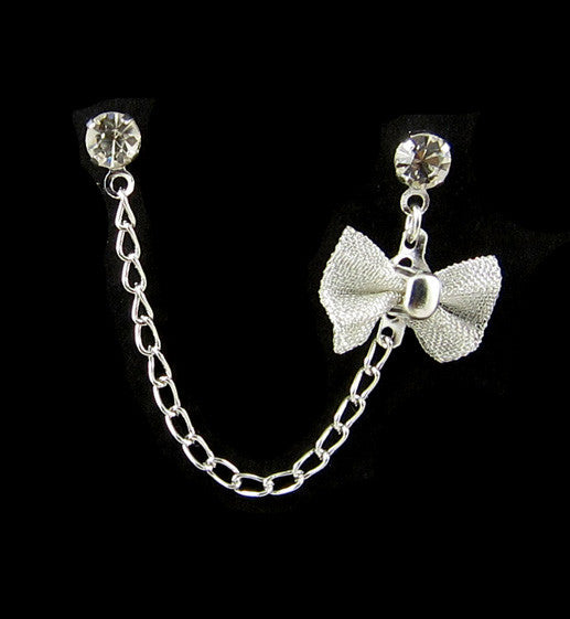 Rhinestone Silver Bow Cartilage/Double Piercing