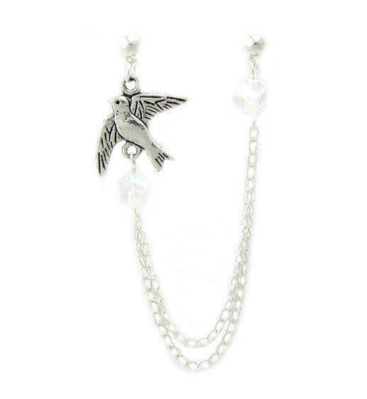 Dove Swarovski Crystals Double Chain Cartilage/Double Piercing