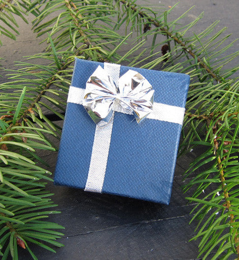 Blue Silver Bow Earring Box