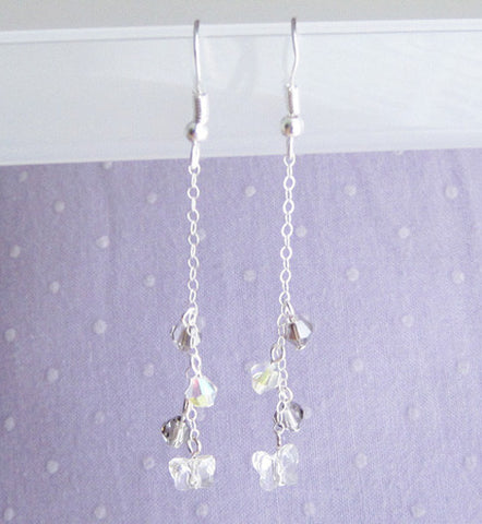 Sterling Silver Clear Butterfly Dangle Earring