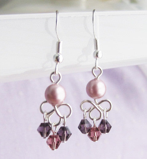 Sterling Silver Small Purple Chandelier Earring